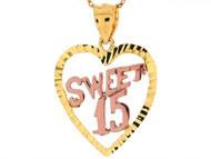 Colgante Diamantado 2.94cm De 15 Anos Quinceanera Estilo Corazon En Oro De 2 Tonos (OM#5739)