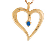Colgante De Dama Estilo Corazon Abierto Con Zafiro Azul Genuino En Oro De 14k (OM#6211)