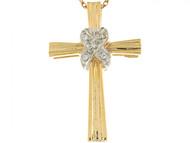Colgante 2.7cm Deslizante Religioso De Cruz Con Circonita En Oro De 2 Tonos 14k (OM#6227)