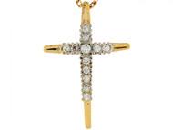 Colgante Deslizante De Cruz Cristiana Pequena 2.2cm Con Circonita En Oro De 14k (OM#6240)