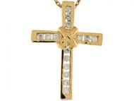 Colgante Deslizante De Cruz Cristiana 2.3cm Con Circonita Blanca En Oro De 10k (OM#6246)