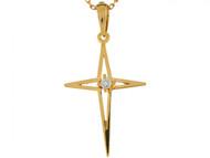 Colgante Cristiano De Cruz Estilo Estrella De 3.3cm Con Diamante En Oro 14k (OM#6249)