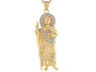 Colgante Cristiano De Jesucristo 6.1cm X 2cm Circonita En Oro De Dos Tonos (OM#6424)