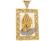 Colgante 6.63cm De Largo De Manos En Oracion Con Circonita En Oro De 2 Tonos (OM#6451)