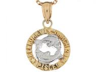 Dije Colgante Natal De Zodiaco Piscis De 1.8cm En Oro De Dos Tonos (OM#6477)