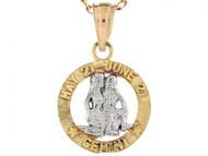 Dije Colgante Natal De Zodiaco Geminis De 1.8cm En Oro De Dos Tonos (OM#6480)