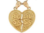 Dije Colgante De 2.2cm Corazon Doble Hermana Grande Hermana Pequena En Oro (OM#6487)