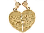 Dije Colgante De 2.2cm Corazon Doble Hermanas Favoritas En Oro Real De (OM#6488)