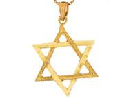Dije Colgante Religioso Brillante De 2.8cm Estrella Judia De David En Oro De (OM#6491)