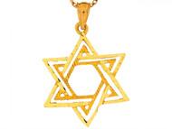 Dije Colgante Religioso Brillante De 2.7cm Estrella Judia De David En Oro De (OM#6492)