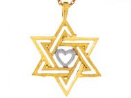 Dije Colgante De 2.3cm Estrella Judia De David Y Corazon En Oro 2 Tonos 14k (OM#6494)