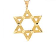 Colgante Grande De 4.8cm Estrella Judia De David En Oro Amarillo Real De (OM#6495)