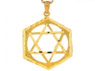Dije Colgante Unico De 3.3cm Estrella Judia De David En Oro Real De (OM#6497)