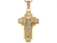 Colgante De 3cm Dde Cruz Crucifijo Hermoso Con Circonita En Oro De Dos Tonos (OM#6509)