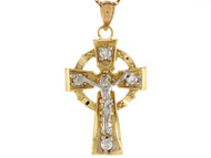 Colgante 3.2cm Crucifijo Celta De Desenador Con Circonita En Oro De 2 Tonos (OM#6513)