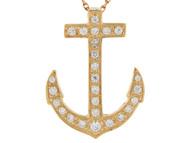 Colgante De Ancla Para Marinero Con Circonita Brillante En Oro De (OM#6878)