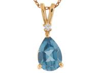 Colgante Flotante De Dama Con Topacio Y Diamante Real En Oro Amarillo De 14k (OM#6969)