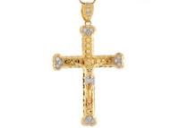 Colgante 6.55cm De Largo Crucifijo Diamantado Con Circonita En Oro 2 Tonos (OM#8013)