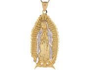 Colgante Diamantado De La Virgen Maria De Guadalupe En Oro De 2 Tonos (OM#8030)