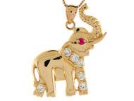 Dije Colgante De Elefante Con Rubi Simulado Y Circonita Blanca En Oro De (OM#8303)