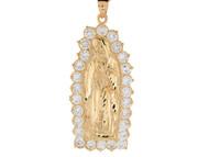 Colgante De 6.0cm Diamantado De La Virgen Maria De Guadalupe En Oro De (OM#8372)