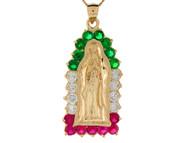 Colgante Diamantado De Virgen Maria Con Circonita Roja Verde Y Blanca En Oro De (OM#8373)
