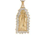 Colgante De 4.8cm Diamantado De La Virgen Maria De Guadalupe En Oro De (OM#8373)