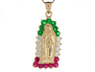 Colgante Diamantado De Virgen Maria Con Circonita Roja Verde Y Blanca En Oro De (OM#8374)