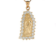 Colgante Diamantado Tamano 4.1cm De Virgen Maria De Guadalupe En Oro De (OM#8374)
