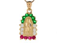 Colgante Diamantado De Virgen Maria Con Circonita Roja Verde Y Blanca En Oro De (OM#8375)