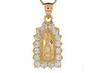 Colgante Diamantado Tamano 3.1cm De Virgen Maria De Guadalupe En Oro De (OM#8375)