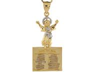 Colgante Religioso De Nino Divino Bebe Jesus En Oro De Dos Tonos De (OM#8424)