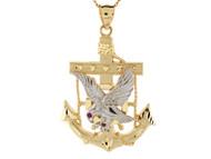 Colgante Maritimo 4.7cm De Ancla Y Aguila En Vuelo En Oro De Dos Tonos De (OM#8432)