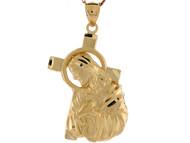 Colgante De 4.3cm De Largo Con Jesus Con Cruz Y Aureola En Oro Amarillo De (OM#8436)