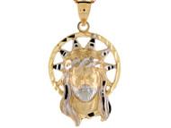 Colgante De 3.8cm Diamantado Rostro De Jesus Con Aureola En Oro De 2 Tonos (OM#8437)