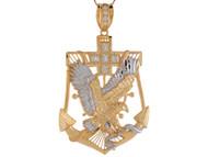 Colgante Diamantado De Aguila Y Anclacon Circonita Blanca En Oro De 2 Tonos (OM#9104)