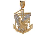 Colgante Diamantado De Aguila Y Anclacon Circonita Blanca En Oro De 2 Tonos (OM#9105)