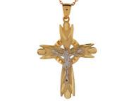 Colgante Moderno Religioso De Crucifijo Celtico Diamantado En Oro De 2 Tonos (OM#9110)