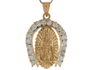 Colgante Para Hombre De Herradura Con Virgen Maria Y Circonita En Oro De (OM#9278)