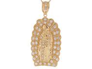 Colgante Diamantado De La Virgen Maria De Guadalupe En Oro Amarillo De (OM#9437)