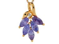 Colgante Flotante Floral Con Ojas De Amatistas Y Diamantes Genuinos En Oro 14k (OM#9536)