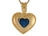 Colgante De Clase Para Dama De Corazon Con Circon Azul Simulado En Oro De 14k (OM#9539)