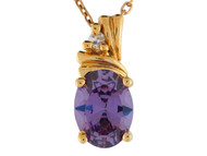 Colgante Pequeno Para Dama Con Amatista Y Diamante En Oro Amarillo De 14k (OM#9543)