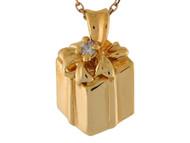 Colgante Deslisante Lindo Diseno De Caja De Regalo Con Circonita En Oro De 14k (OM#9544)