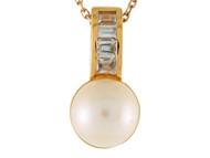 Colgante De Dama Con Perla De Agua Dulce Y Circonita Baguette En Oro De 14k (OM#9545)