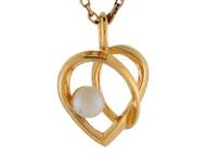 Colgante De Dama Corazon Con Giro Moderno Con Perla De Agua Dulce En Oro 14k (OM#9549)