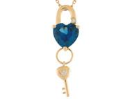 Colgante De Dama Estilo Candado Y Llave Con Circon Azul Simulado En Oro De 14k (OM#9557)