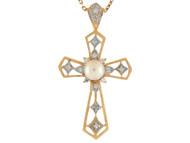 Colgante De Dama Cruz Con Perla De Agua Dulce Y Diamantes En Oro 14k De 2 Tonos (OM#9564)