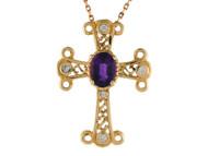 Colgante De Cruz Estilo Fleury Trebolada Con Amatista Y Diamantes Reales En Oro 14k (OM#9565)