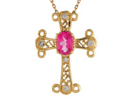 Colgante De Cruz Estilo Fleury Trebolada Con Topacio Y Diamantes Reales En Oro 14k (OM#9565)
